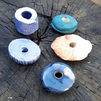 5 Large Ceramic Garden Beads (selection 1D)