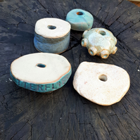 5 Large Ceramic Garden Beads (selection 1E)