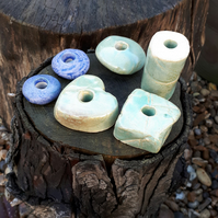 6 Large Ceramic Garden Beads (selection 5)