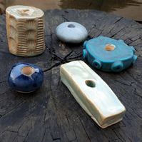 5 Large Ceramic Garden Beads (selection A)