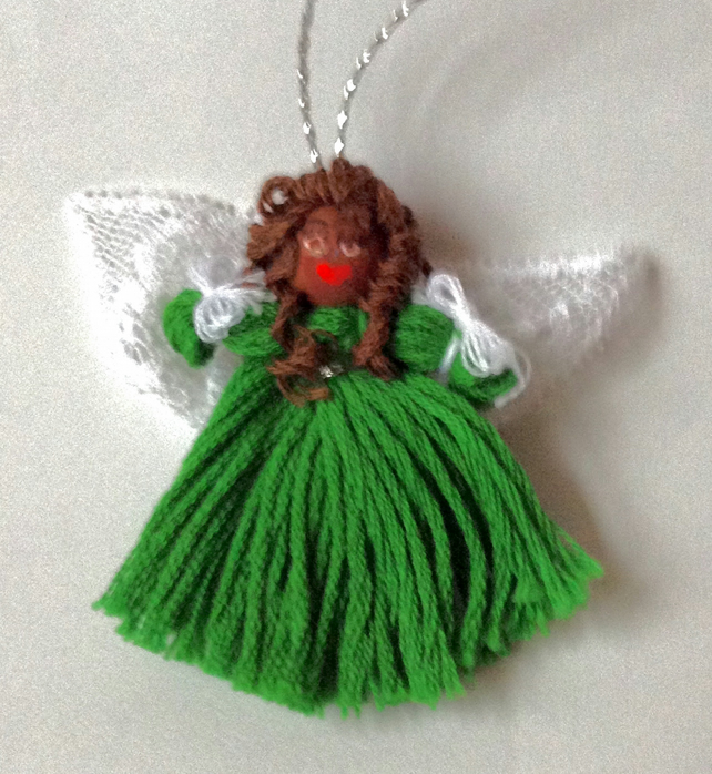 Angel Hair Christmas Tree Decoration.Christmas Angel Tree Decoration Green Dress Dark Skin Brown Hair Fairy