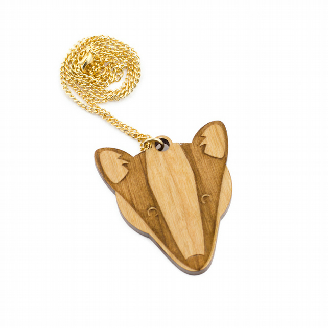 Wooden Badger Forest Necklace nature woodland