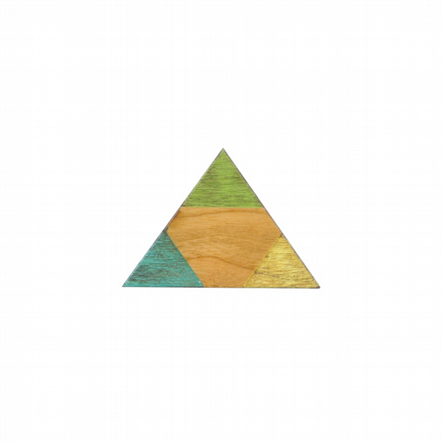 Geometric wooden hand painted triangle Navajo inspired Brooch green yellow blue