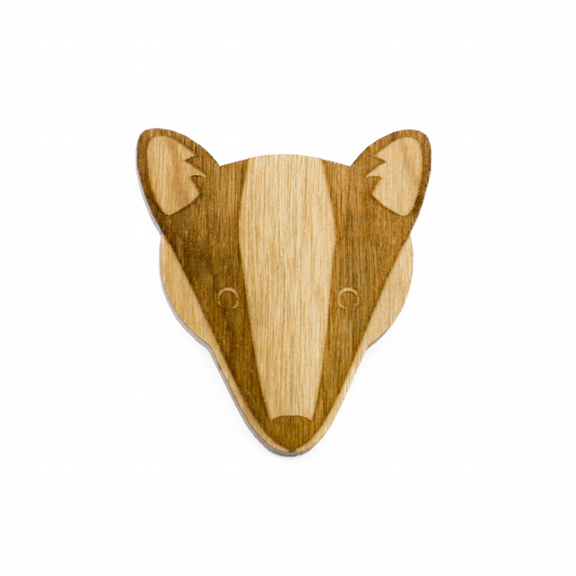 Wooden Badger Forest Brooch nature woodland