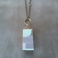 Hand Printed Wooden Necklace - Wooden Pendant - Reclaimed Wood Jewellery