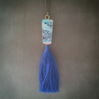 Hand Printed Wooden Tassel Necklace - Wooden Pendant - Reclaimed Wood Jewellery
