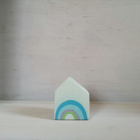 Miniature Wooden House, Rainbow House, House Ornament, Housewarming Gift