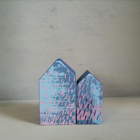 Miniature Wooden Houses, Set of 2 House Ornaments, 5th Anniversary, Housewarming