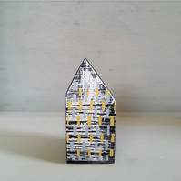 Miniature Wooden House, Black & White House, House Ornament, Housewarming Gift