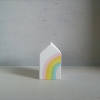 Miniature Wooden House, Rainbow House, Little House Ornament, Housewarming Gift