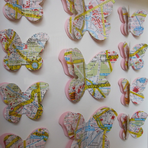 Berlin Maps - Framed Butterfly Art