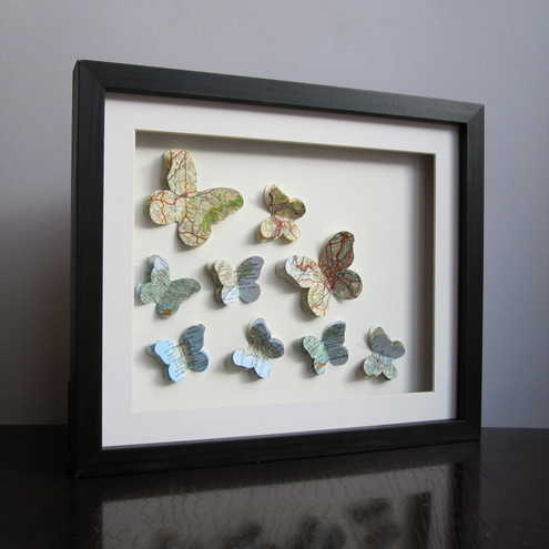 Example of Custom work. Fluttering Butterfly Maps.
