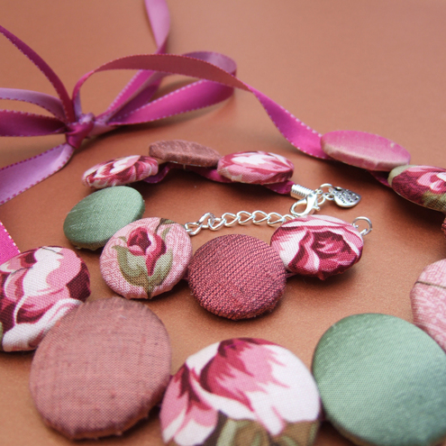 Dusky pinks and green fabric button necklace and bracelet set