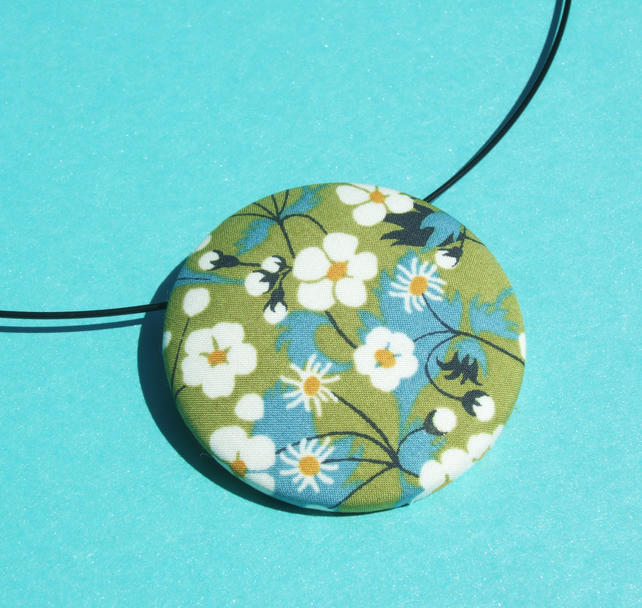 Liberty fabric large button necklace