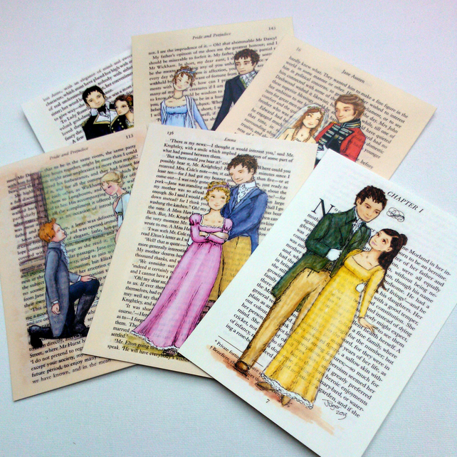 Jane Austen Couples Book Page Postcards Set of 12