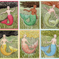 Mermaids Book Page Postcards Set of 12