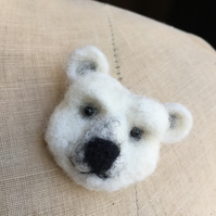 Needle Felted Bear Pin Brooch Badge - POLAR BEAR