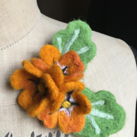 Needle Felted Orange Flower Floral Brooch Pin Badge Corsage Wedding Bridesmaid