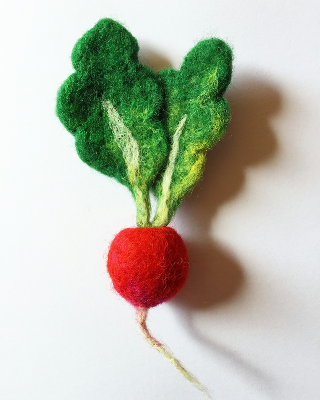 Handmade Needle Felted Radish Vegetable Brooch Pin Badge Gift