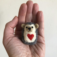 Needle Felted Cute Hedgehog Valentine Handmade Sculpture