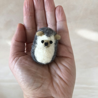 Needle Felted Cute Hedgehog Kawaii Handmade Sculpture