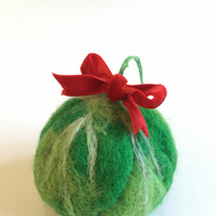 Christmas Brussels Sprout Tree Decoration Bauble Needle Felted