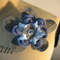 Grey & Blue Flower Corsage, Brooch -Mothers day Gift