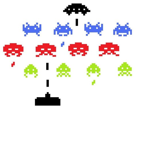 Space invaders wall art car decal stickers retro folksy - Space invader wall stickers ...