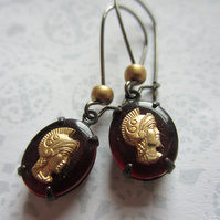 Roman soldier cameo charm earrings, steampunk