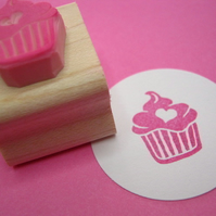 Iced Cupcake with a Heart - Hand Carved Rubber Stamp