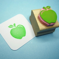 Crunchy Apple - Hand Carved Rubber Stamp