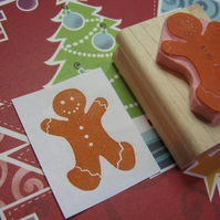 Large Gingerbread Man - Hand carved rubber stamp