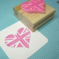 Union Jack Heart - Hand Carved Rubber Stamp