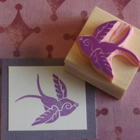 Swallow - Hand Carved Rubber Stamp