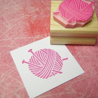 Knitting Needles and Yarn - Hand Carved Rubber Stamp