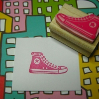 Basketball Boot - Hand carved rubber stamp