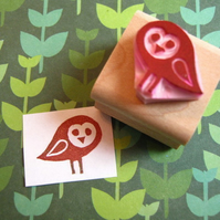 Baby Barn Owl - Hand carved rubber stamp