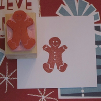 Mini gingerbread man - hand carved rubber stamp
