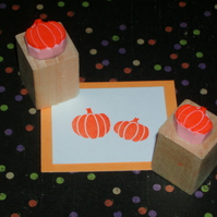 Pair of Mini Pumpkins - Hand Carved Rubber Stamps
