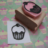 Yummy Cupcake - Hand carved rubber stamp