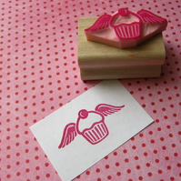 Cupcake with Wings - Hand Carved Rubber Stamp