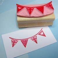 Little Flag Bunting  - Hand Carved Rubber Stamp