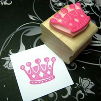 Small Crown - Hand carved rubber stamp