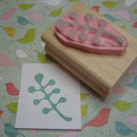 Retro Leaves - Hand carved rubber stamp