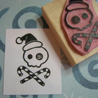 Christmas Santa Skull and Cross Canes - Hand Carved Rubber Stamp