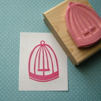 Pretty Birdcage - Hand Carved Rubber Stamp
