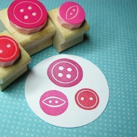 Mini Buttons - Hand Carved Rubber Stamps