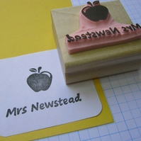 Personalised Teacher Stamp with Apple - Hand Carved Rubber Stamp