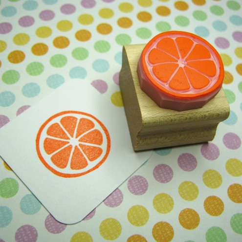 Fruity Slice - Hand Carved Rubber Stamp