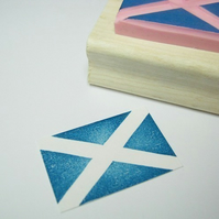 Saltire Flag - Hand carved rubber stamp